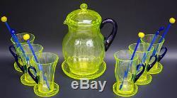 Antique Fenton Vaseline Optic Rib Blown Glass Lemonade Set Coasters Yellow Blue