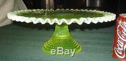 Antique Fenton Vaseline Topaz Opalescent Hobnail Art Glass Cake Pedestal Stand