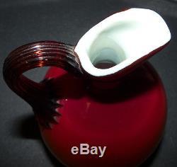 Antique HOBBS BROCKUNIER WHEELING PEACHBLOW Art Glass CRUET
