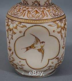 Antique Hand Blown & Painted Mt Washington Peachblow Art Glass Vase
