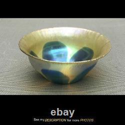 Antique LC Tiffany Studios Favrile Art Glass Gold Blue Leafy BOWL