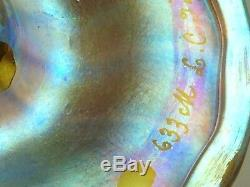 Antique L. C. Tiffany Gold Favrile Iridescent Art Glass Trumpet Wheel Cut Vase