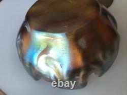 Antique Lct Tiffany Gold Favrile Master Salt Glass Art Bowl Cellar L. C. T. Mint