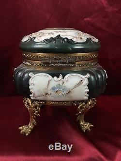 Antique Monroe Wave Crest Clock Footed Dresser Box Hand Decorated Glass c. 1900
