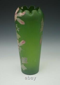 Antique Pairpoint Harrach Bohemia Raised Design Flowers Roses 11 Large Vase