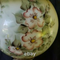 Antique Parlor 3 Globe Lamp Hand Painted Dogwood Roses Lamp Signed By Artist 30