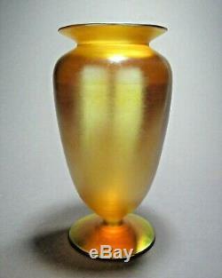 Antique QUEZAL Art Glass Footed Vase Signed c. 1902-24 Tiffany Steuben Durand Era