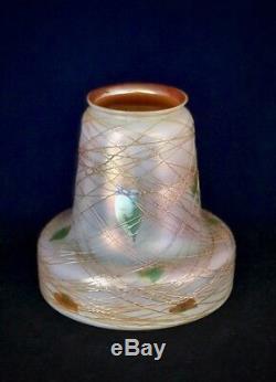 Antique Quezal Art Nouveau Glass Shades Autumn Leaf/ Random Spider Web Threading