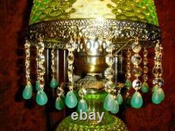 Antique Rare Uranium Big Lamp With 2 Colors Hobnail Glass, Gwtw