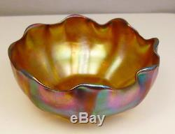 Antique Signed LCT Louis Comfort Tiffany & Co Gold Favrile 5 Ruffled Rim Bowl