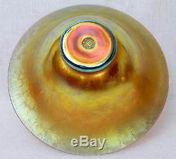 Antique Signed Steuben Aurene Iridescent Glass Centerpiece Bowl Carder 2851