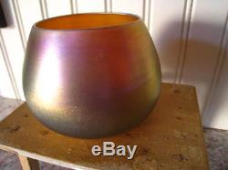 Antique Signed Steuben Gold Aurene American Iridescent Art Glass 3 Vase/Bowl