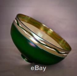 Antique Steuben Art Nouveau Glass Shade Green Aurene/intarsia Appld Border 10