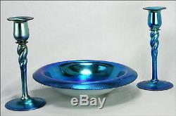 Antique Steuben Blue Aurene Twist Candlesticks with Center Bowl ca1920