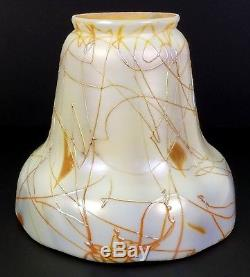 Antique Steuben Early 20th C. Art Glass Threaded Heart Lamp Shade