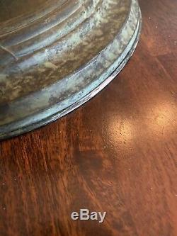 Antique Steuben Glass Gold Aurene Ceiling Gold Shade Rare Shape #973 And Fixture