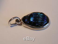 Antique Tiffany Favrile Art Glass Cobalt Blue Scarab Sterling Silver Pendant
