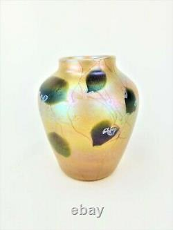 Antique Tiffany Studios Gold Favrile Glass Millefiori Vase ca1910