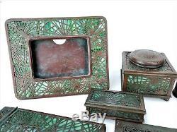Antique Tiffany Studios Pine Needle Desk Set ca1910