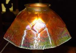 Antique Tiffany candle lamp with rare honeycomb shade-15286