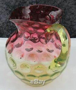 Antique Victorian Hobbs Brockunier Cranberry Vaseline Rubina Verde Glass Pitcher