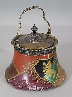 Antique Victorian, Mount Washington Flemish Art Glass & Silverplated Cracker Jar