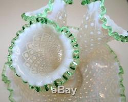 Antique Vintage Vaseline Glass Epergne Fenton Hobnail White Green Opalescent 11