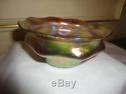 Auth Rare Lct Tiffany Favrile Iridescent Gold Finger Bowl∨ig Underplate Excell