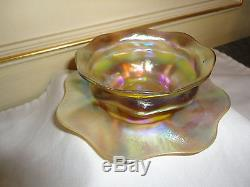 Auth Rare Lct Tiffany Favrile Iridescent Gold Finger Bowl&orig Underplate Excell