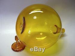 BLENKO ART GLASS JOEL MEYERS 1965 #648 BALL DECANTER IN HONEY RARE INTACT SUPER