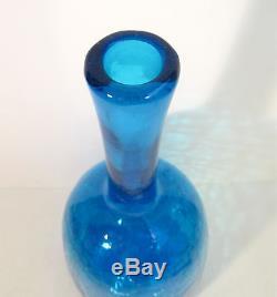 BLENKO Mid Century BIG 18 Crackle Art Glass #6626 Turquoise Decanter JOEL MYERS