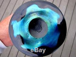 Brilliant Original Steuben Art Glass Blue Aurene 3 Prong Stump Vase Deep Colors