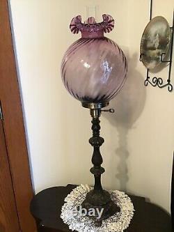 Beautiful 10 Fenton Art Glass Mulberry Spiral Optic Lamp