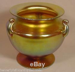 Beautiful Antique Steuben Gold Aurine 3 Handle Vase
