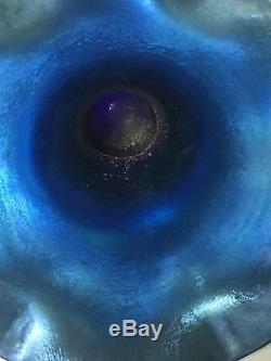 Beautiful Steuben Aurene Ruffled Flared Rim Blue Art Glass Hand Blown Numbered
