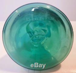 Blenko 1958 Spool Decanter Wayne Husted Sea Green Sandblasted Mark 24 Glass Art