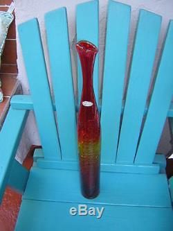 Blenko 22 7/8 AMBERINA CRACKLE GLASS VASE red orange yellow FOIL STICKER art
