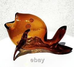 Blenko #5433 Amber Gold Honey Wheat Topaz Glass Fish Sculpture Vase Bowl Figure