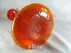 Blenko Amberina Decanter Shot Glass, 16-1/2, tangerine, Wayne Husted, #6027