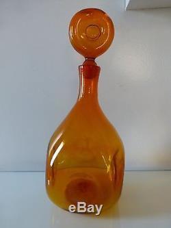 Blenko Amberina Tangerine Donut Decanter & Donut Stopper, Husted, #5932, marked