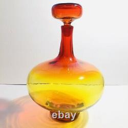 Blenko Art Glass Amberina Tangerine Large 14 Tall Glass Decanter With Stopper