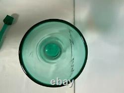 Blenko Art Glass Decanter Wayne Husted 564 Sea Green WithStopper 18 MCM RARE