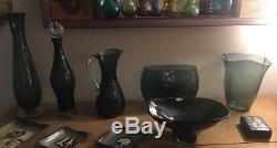 Blenko Charcoal Wayne Husted Decanter 5416L With Split Crystal Stopper And Base