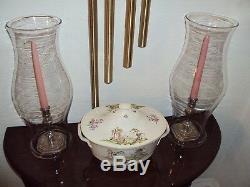 Blenko Colonial Williamsburg CW10 Lg Heavy Hurricane Glass Shades (2) Pre-1966