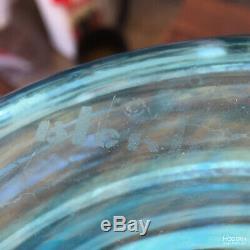 Blenko Glass 5929-S Wayne Husted Turquoise Blue Chessman Decanter Sandblast Mark