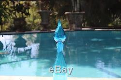 Blenko Glass Co Hand Blown Art Glass Blue 25 Floor Decanter Flame Stopper MCM