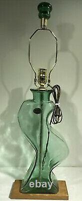 Blenko Glass Country Roads Lamp Mint Green