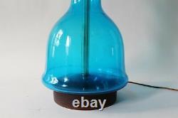 Blenko Glass Curvaceous Blue Table Lamp