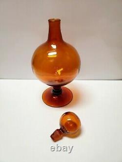 Blenko Glass Decanter 6211 Honey Genie Bottle