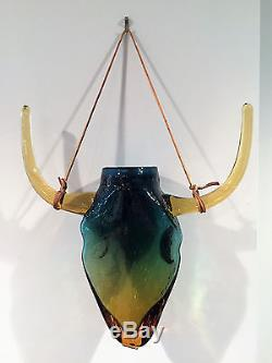 Blenko Glass Desert Green Steer Head Hanging Wall Pocket by Trey Gott